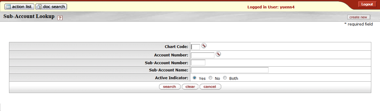 Sub account number lookup form